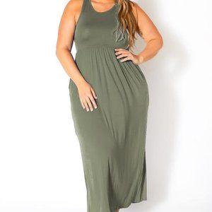 Plus Size Sleeveless Ruched Maxi Dress